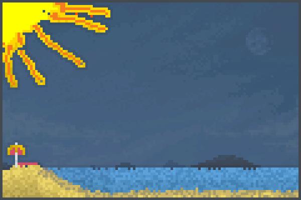 a sunny beach Pixel Art