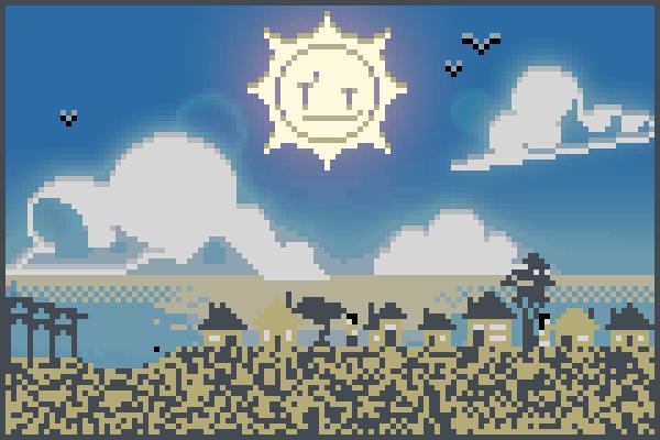 Vilarejo ensola Pixel Art