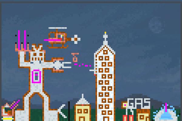 Robot Attack Pixel Art